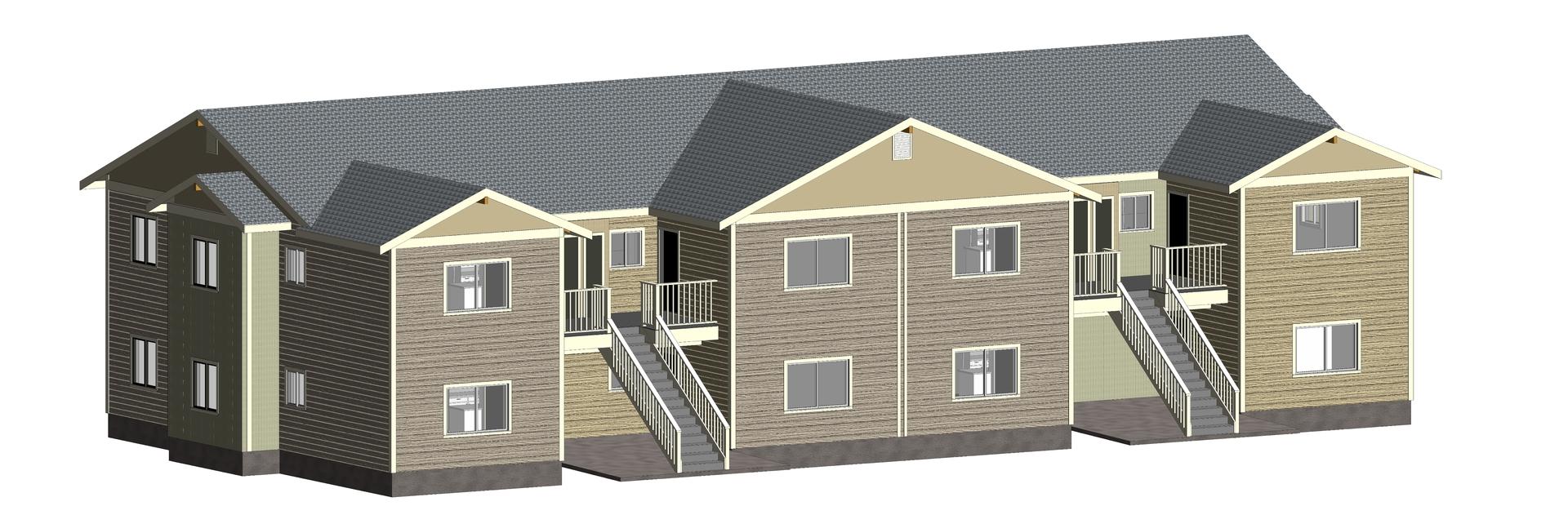 fourplex townhomes 3D model