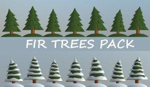 3D cartoon fir trees pack model