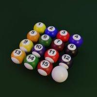 3D billiard pool balls model
