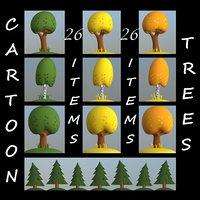 cartoon trees pack 3D