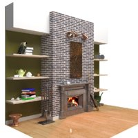 fireplace shelves 3D model