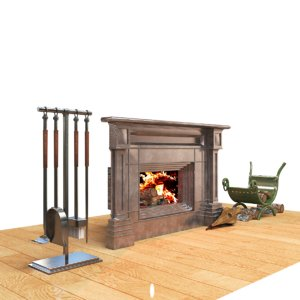 firewood fireplace 3D model