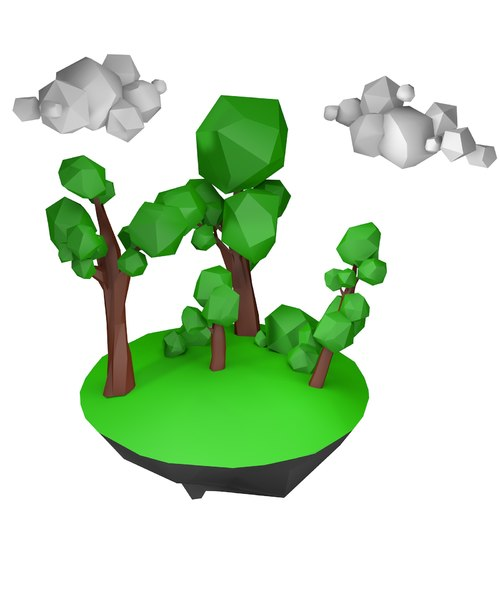 oak trees bushes 3D model