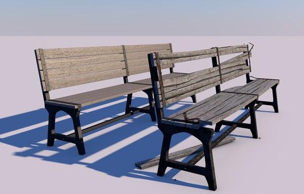 park benches new bancas 3D model