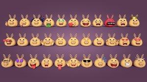 rabbit emoticons 3D