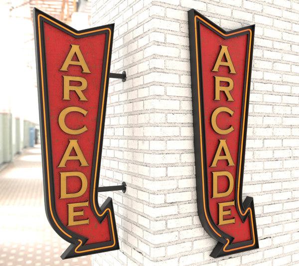 neon arcade vintage advertising model