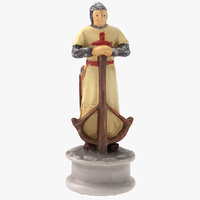 chess piece pawn white model