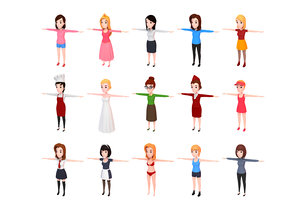 girl character pack cartoon 3D model