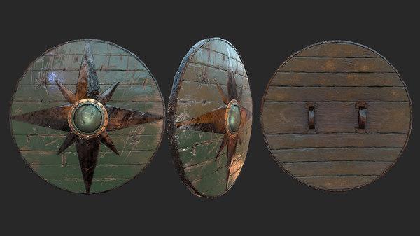 3D viking historical green shield