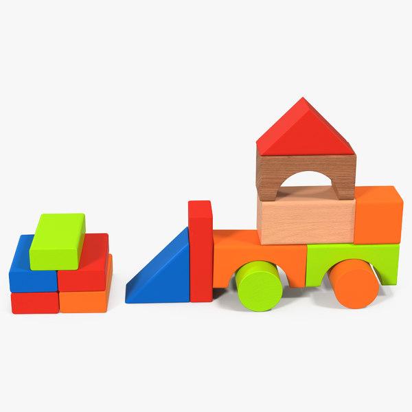 bulldozer wooden building blocks 3D
