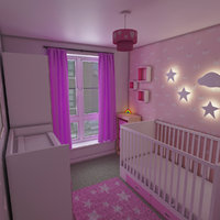 3D girls nursery bedroom interior model