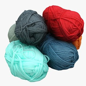 pile balls wool 3D model