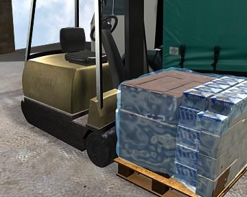 loading forklift lorry pallet 3d model