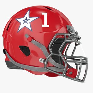 3D red football helmet