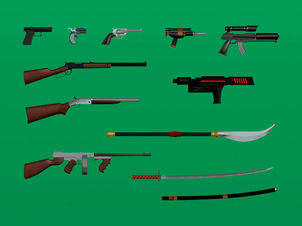 weapons set res 3d model