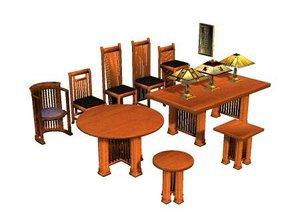 prairie style furniture chair table 3d model