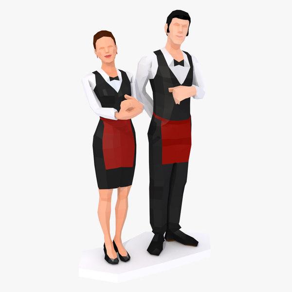 3D style couple waiters waitress model