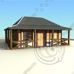 wood caribbean house 3d model