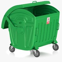 green garbage bin 3D model