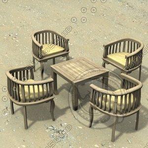 3d model table chair gardens armchair