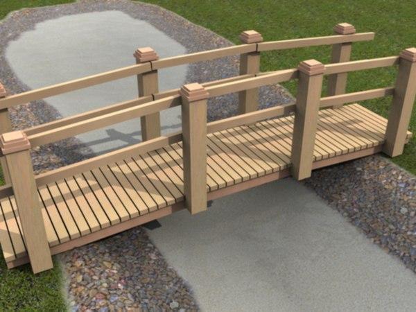 3d model garden landscape bridge pond
