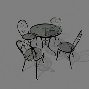 3d patio chair table set model