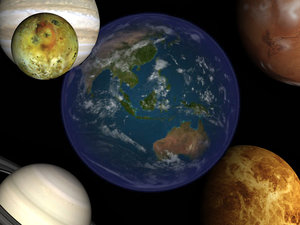 planets earth mars 3d model