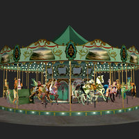 mixed carousel animals pzcrsl 3d model
