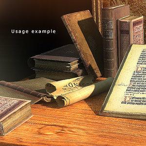 medieval books framed pictures 3d model
