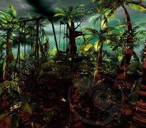 3d model jungle palm trees