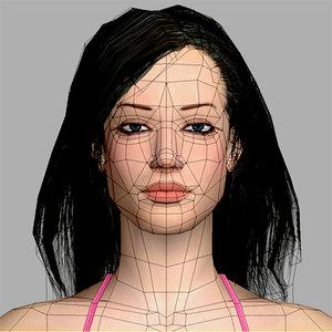 polygonal woman masha 3d model