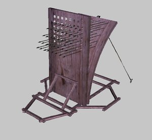catapult medieval arrows 3d model
