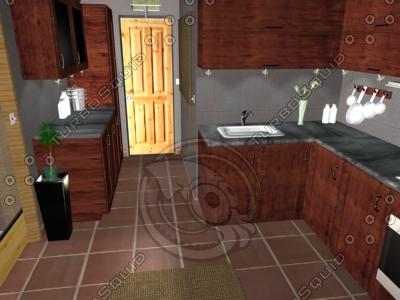 3d model kitchen lighting