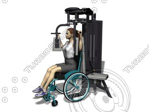 pec deck wheelchair gym equipment 3d model