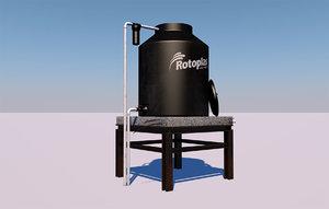 3D black water tank tinaco model