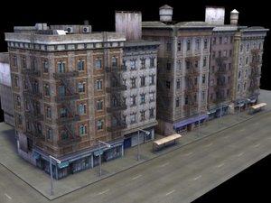 multi city building facade 3d model