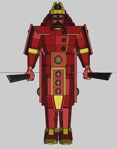 3d model red samurai