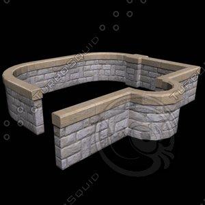 stone railing 1 3d model