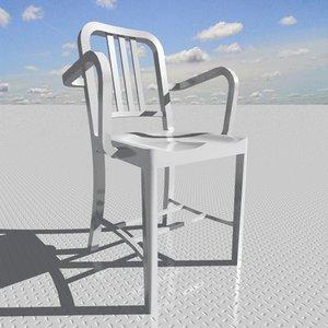 3d navy armchair designed model