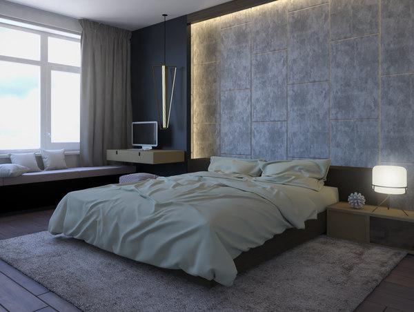 Scene Modern Bedroom Interior 3d Model Turbosquid 1455775