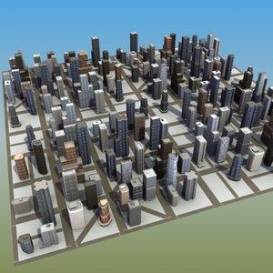 3d max7 city environment buildings model