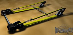 muscle car wheelie bars 3d model