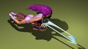 female speedbike speed 3d model