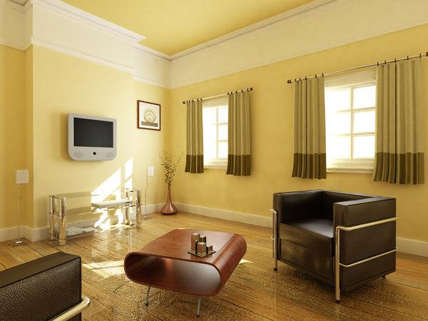 livingroom scene tv 3d 3ds