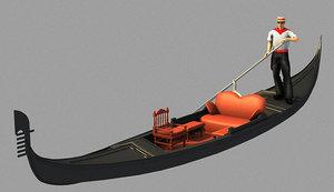 gondola boat boatman 3d model