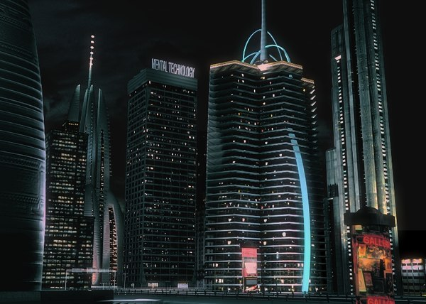 realistic night city modern 3d model