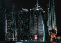 realistic night city modern 3d model