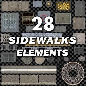 Sidewalk & Street Elements Layer Pack