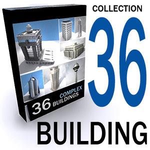 3d 36 buildings lightened texturing model