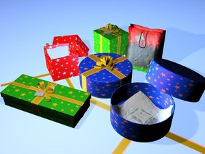 3d model openable gift box set
